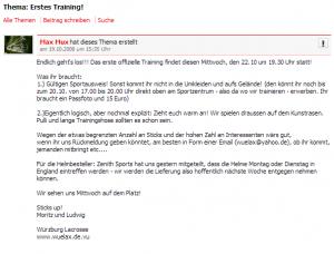 Trainerlegende Müller lädt  in der studivz-Gruppe 2008 zum ersten Training.
